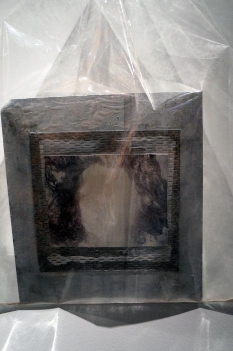 SNAG - self portrait, on aluminium, in bag