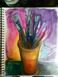 Page from my sketchbook - brushes in Terracotta pt