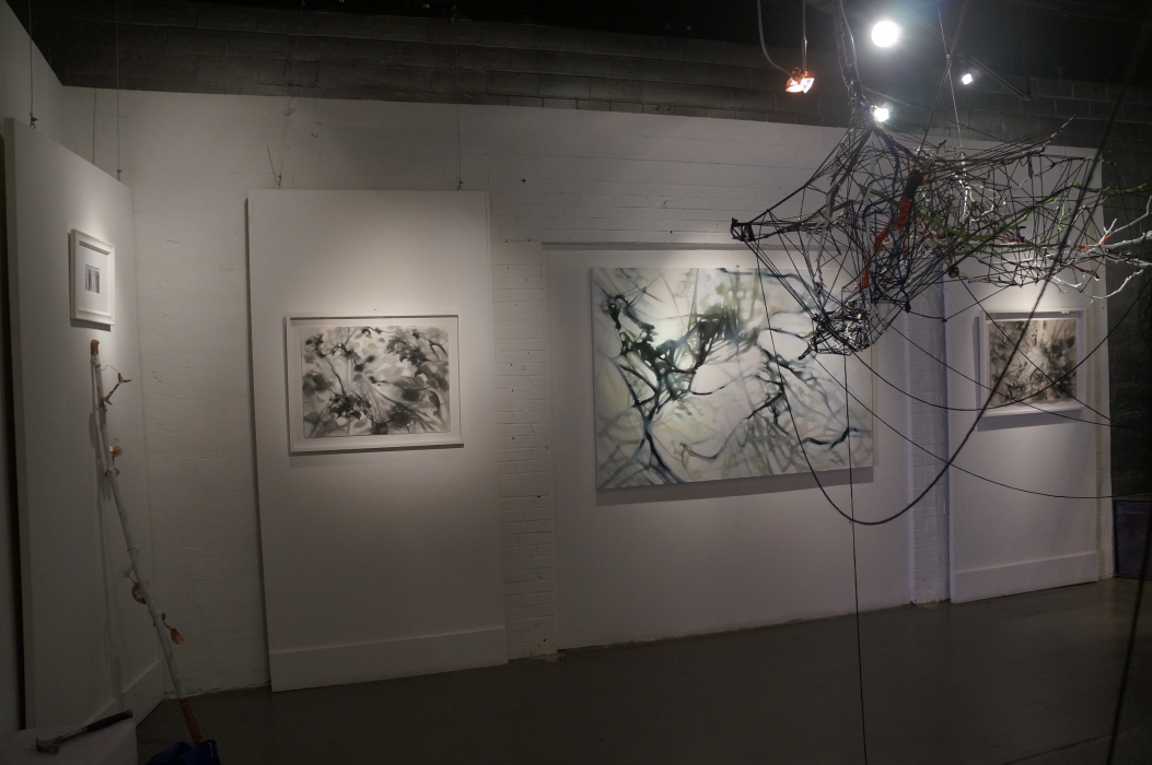 SNAG - with the painting that completes the installation, plus two drawings