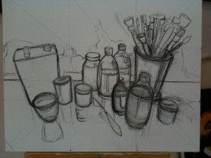 Bottles and Brushes, compositional sketch on canvas, first stage.